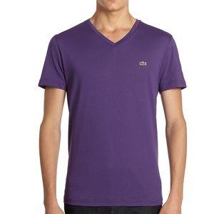 Lacoste Men's Purple Pima Jersey V-Neck T-Shirt